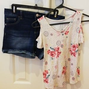 Justice Flowery Cold Shoulder Top w/ Midrise Short